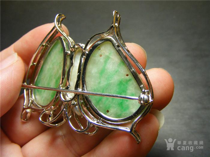 镶人工锆石水钻镶老坑A货飘绿翡翠与珍珠大蝴蝶胸针 实价