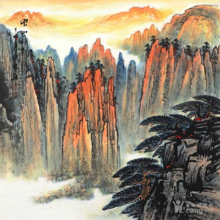 周维根手绘国画传统字画收藏客厅四尺斗方无水山水画图片
