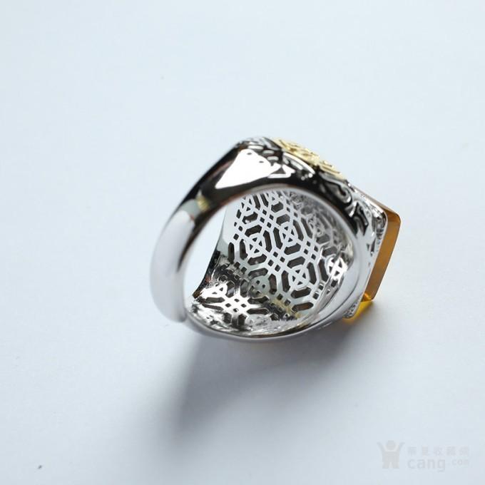 净水金珀阴雕龙腾银戒指 10KJ07图6