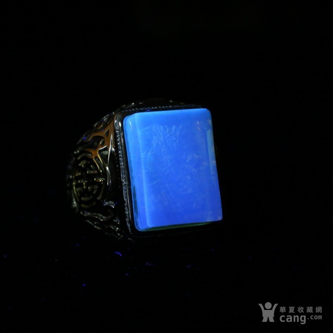 净水金珀阴雕龙腾银戒指 10KJ07图11