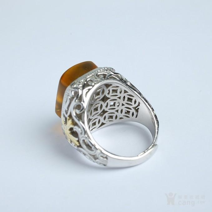 净水金珀阴雕龙腾银戒指 10KJ08图5