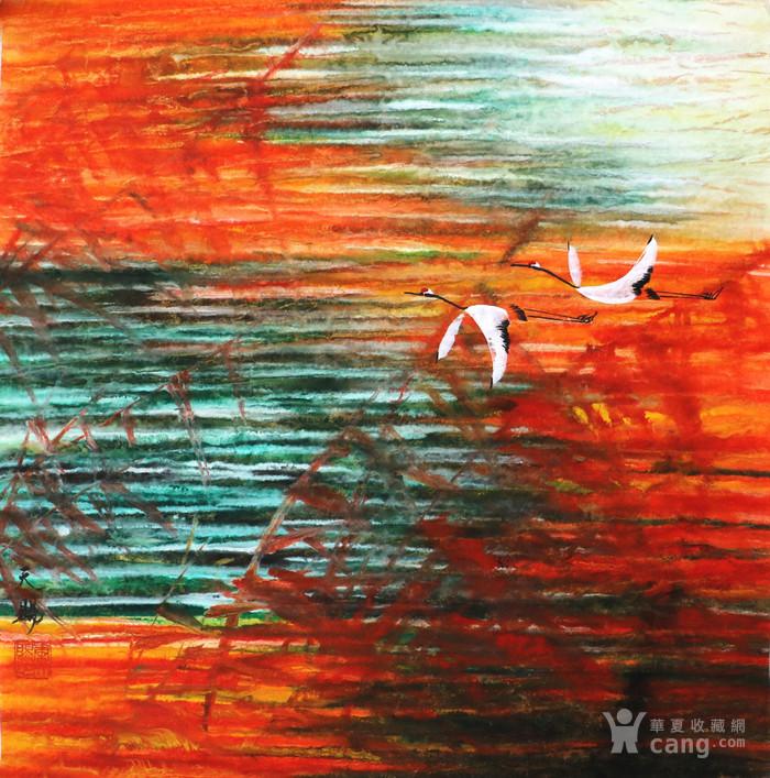 *天赐真迹手绘国画字画收藏装饰重彩画斗方山水风景