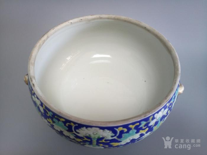清代蓝地西番莲粉彩暖锅底