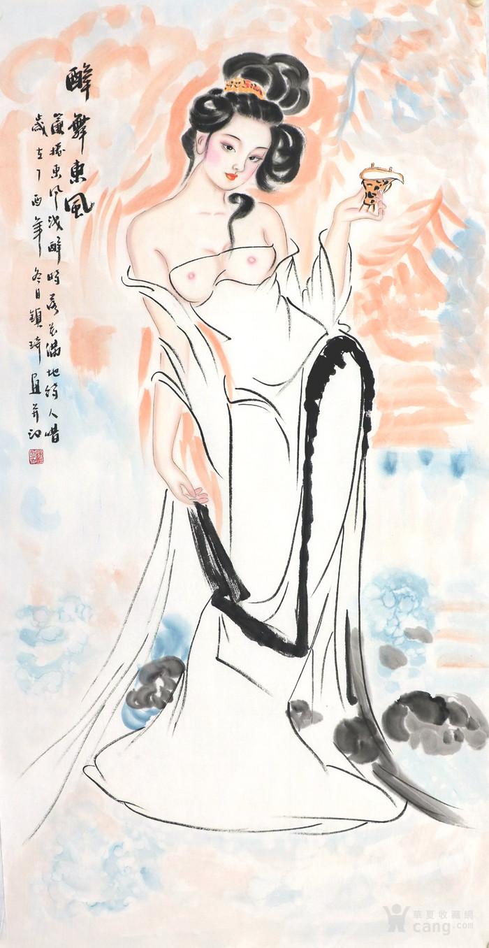 谢镇琦真迹手绘国画人物四尺中堂竖幅美女图写意人物