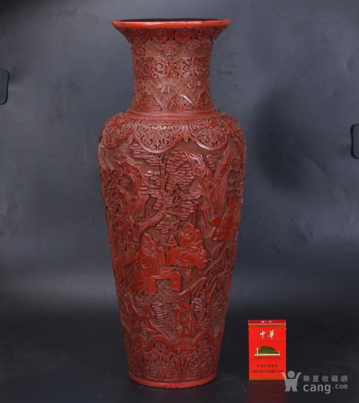 清 剔红七贤图 大花瓶图1