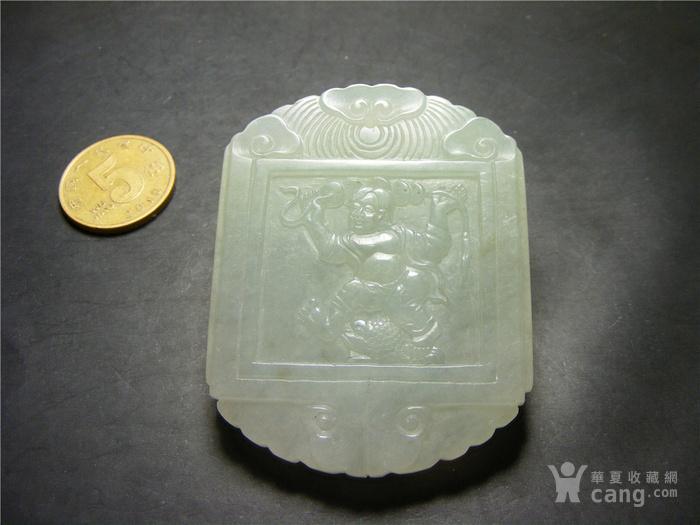八九十年代A货新工冰种淡绿色翡翠双面工浮雕刘海戏金蟾诗文大