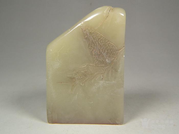 老淡色寿山石高浮雕仙翁山水纹随形大扁印章图2