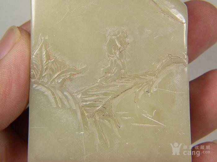 老淡色寿山石高浮雕仙翁山水纹随形大扁印章图5