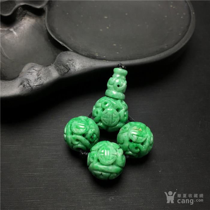 B9文玩a509创汇期糯冰种苹果绿翡翠团寿龙纹三通佛头一套