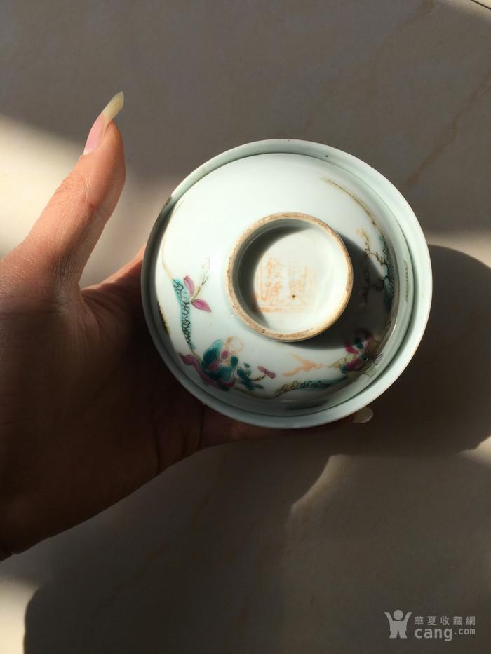清代寓意好带双款五彩人物茶盖碗图1