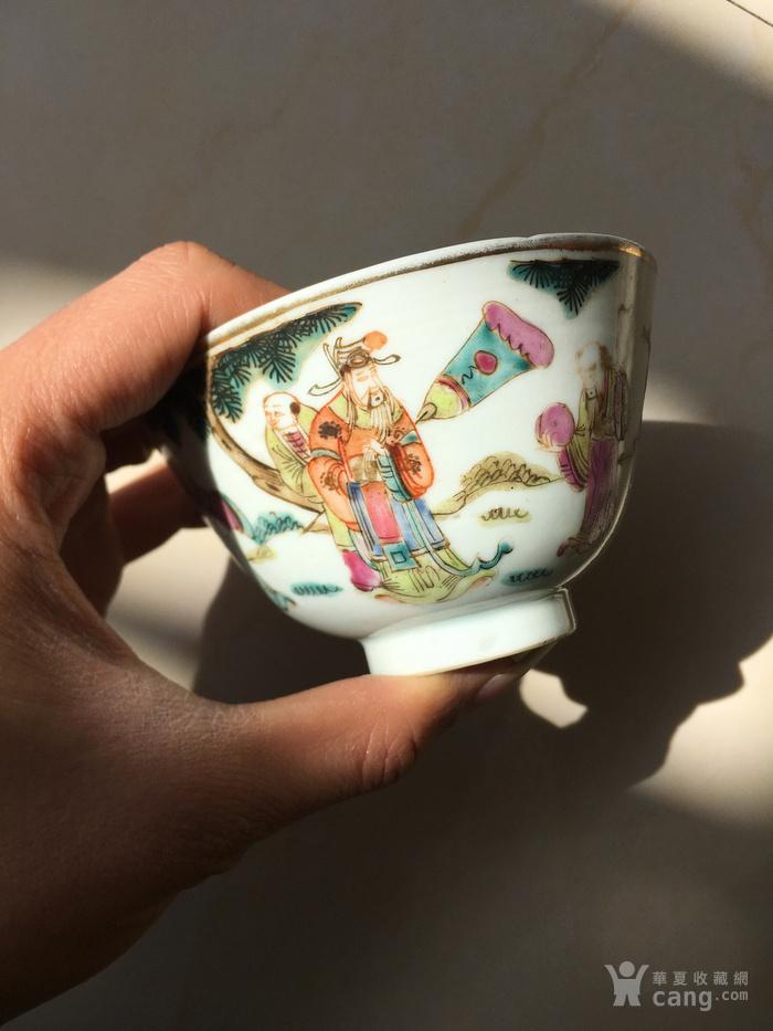 清代寓意好带双款五彩人物茶盖碗图7