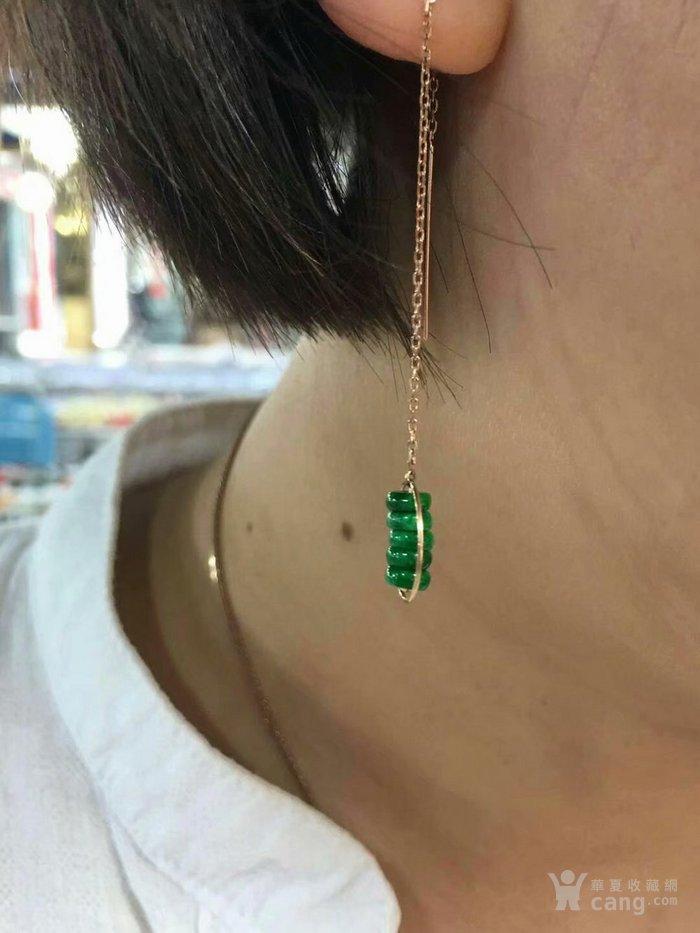 天然缅甸翡翠18K金镶嵌满绿时尚耳环