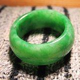 晚清 天然 满辣绿 翡翠指环