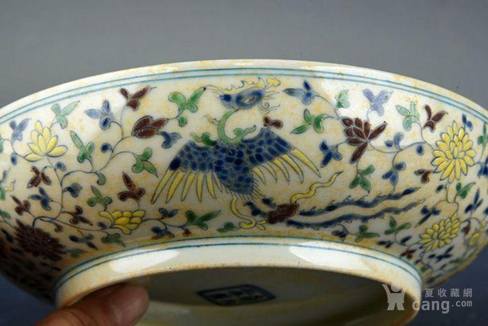大明成化年制素三彩凤穿花纹盘子 古玩古董古瓷器老货收藏