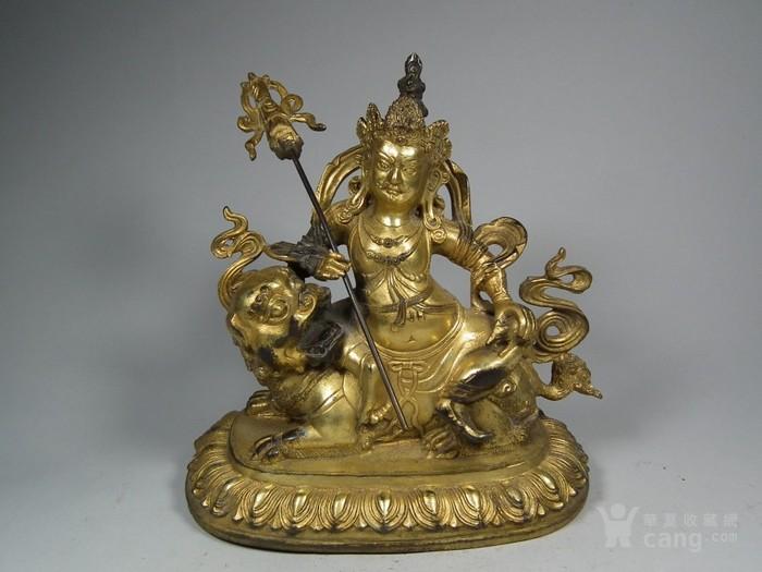老黄铜鎏金财宝天王像一尊图1