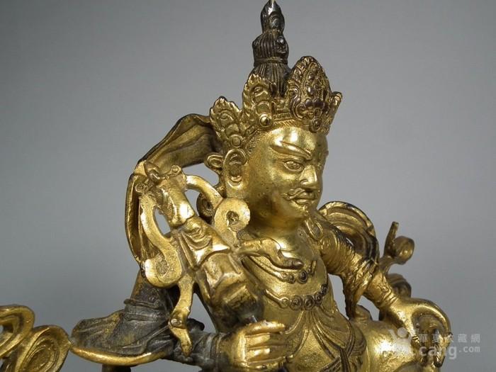 老黄铜鎏金财宝天王像一尊图7