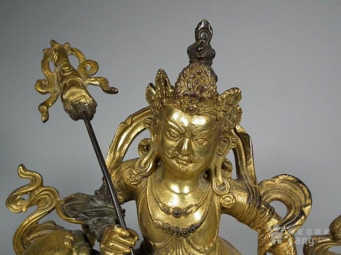 老黄铜鎏金财宝天王像一尊图2