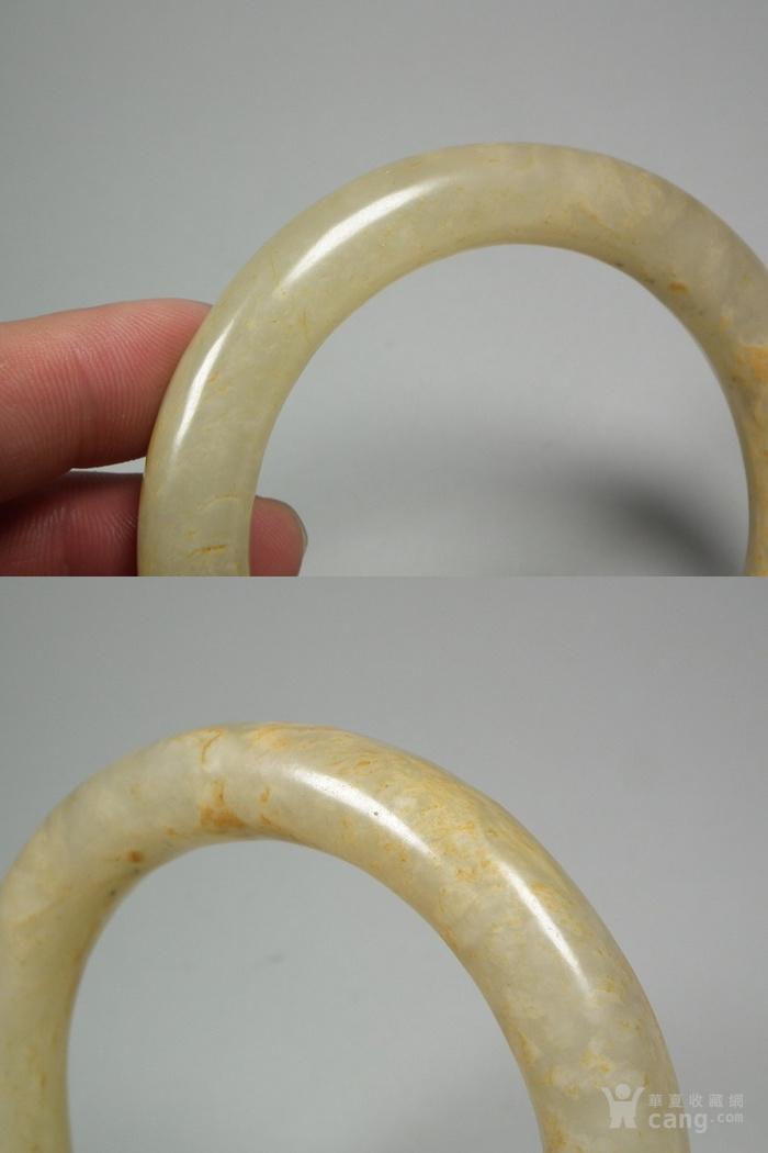 和田青白玉带黄沁大圆手镯图8
