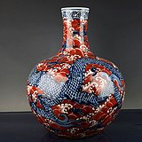 大明宣德年制青花矾红海水云龙纹天球瓶 古玩古董古瓷器老货收藏