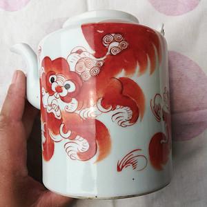 村上收来的,清晚期狮子狗茶壶,不议价