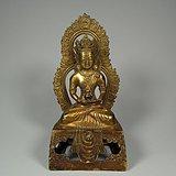 藏传佛教老黄铜鎏金背光大佛像一尊