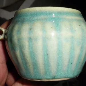 7 80年代,绿釉瓜棱鸟食罐