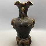 酱釉花口兽面瓷瓶A0184