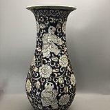 青花花卉童子大瓷瓶A0185