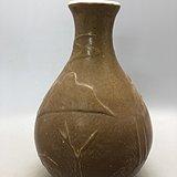 黄釉山水瓷瓶A0191