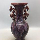 双耳红釉瓷瓶A0196