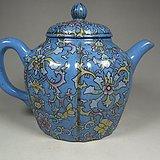 老红泥紫砂满蓝釉描绘缠枝花卉多棱大茶壶