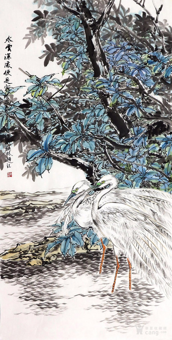 文秋林纯手绘真迹国画收藏字画四尺竖幅写意花鸟画