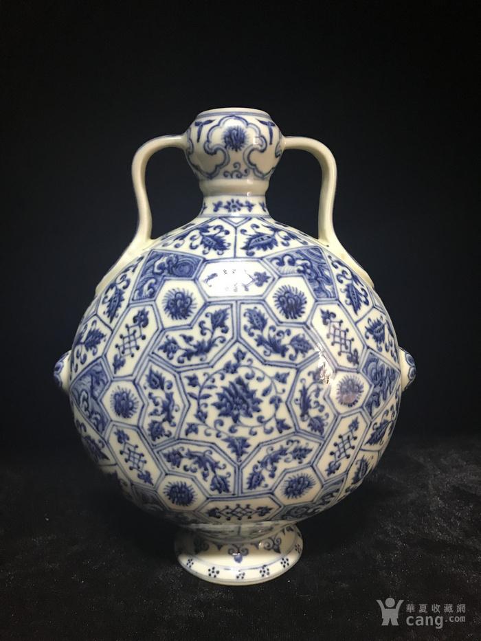 老青花扁瓶
