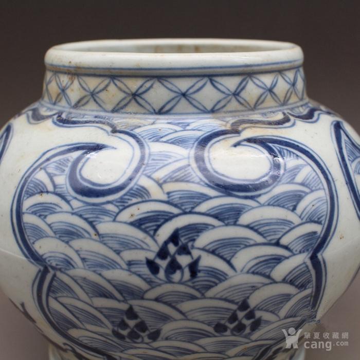 青花 手绘海水纹 罐子