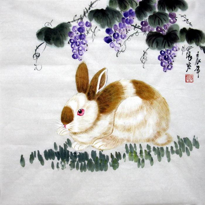 张容183 三尺斗方工笔动物国画字画 183 吉祥兔