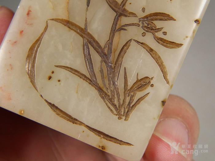 老淡色寿山芙蓉石刻兰花纹大方印章图9