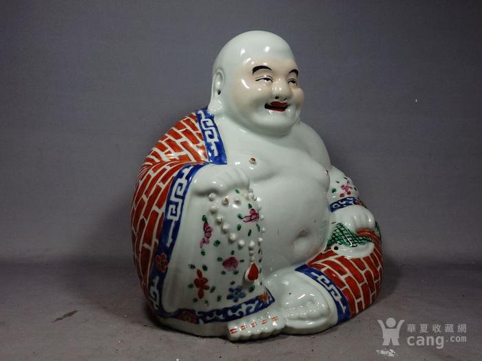 清代朱茂记粉彩弥勒佛像