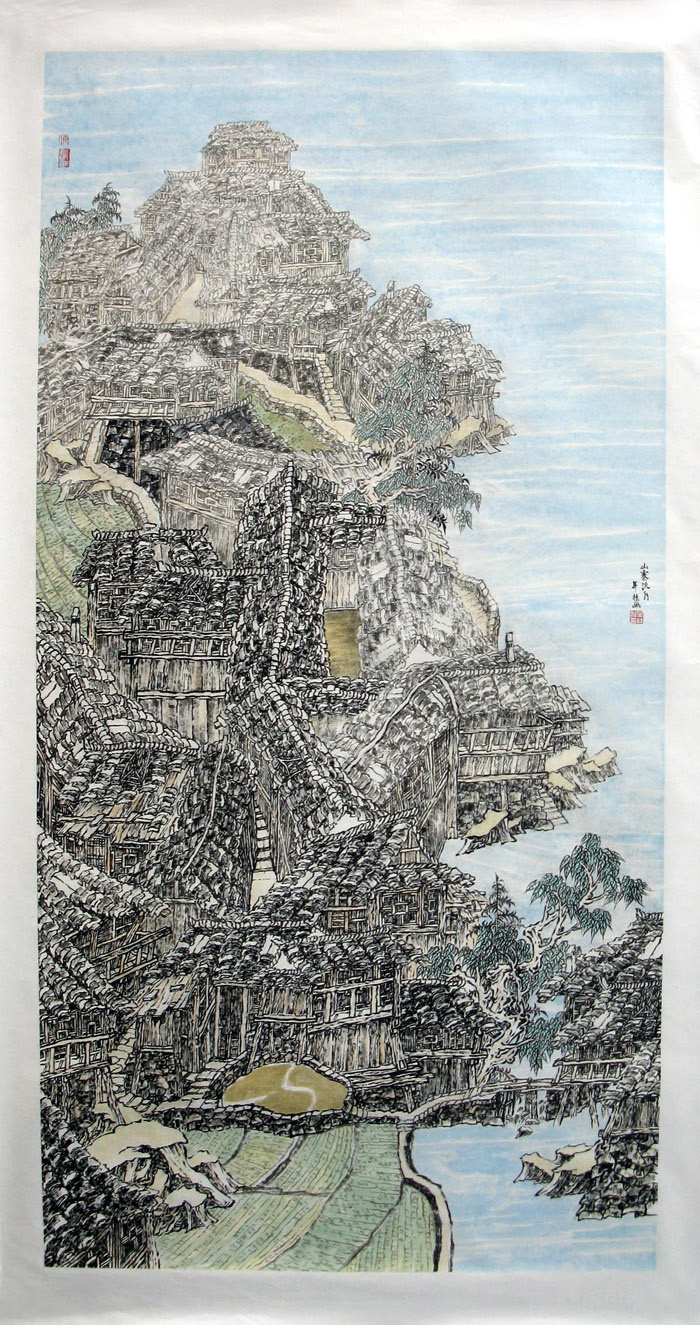 唐年桂手绘真迹国画山水字画收藏四尺书画作品