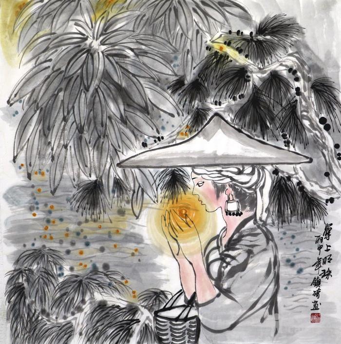 谢镇琦真迹手绘国画人物客厅四尺斗方童趣图写意人物图片