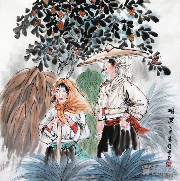 谢镇琦真迹手绘国画人物客厅四尺斗方童趣图写意人物