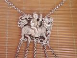 老银锁麒麟送子 古代银锁 百家锁