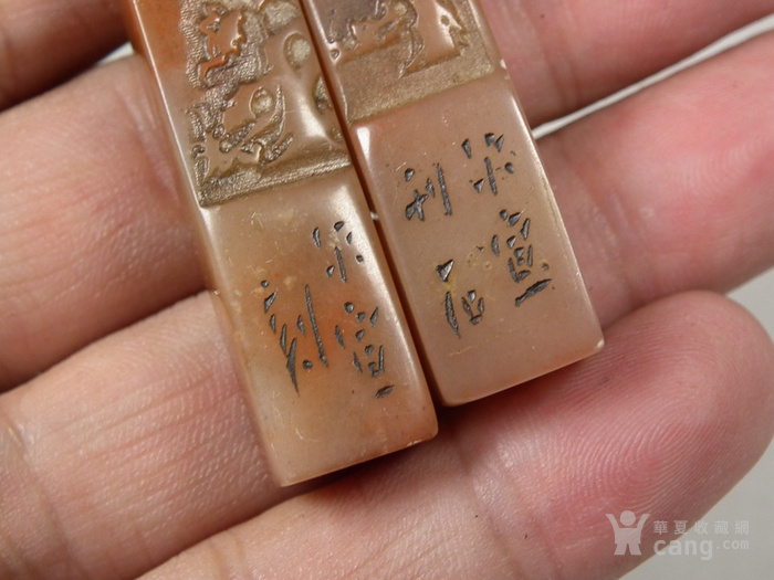老寿山石冻石浮雕松竹梅兰四君子印章一套图5