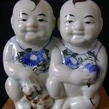 民国 醴陵釉下彩大号 双胞胎 招财童子