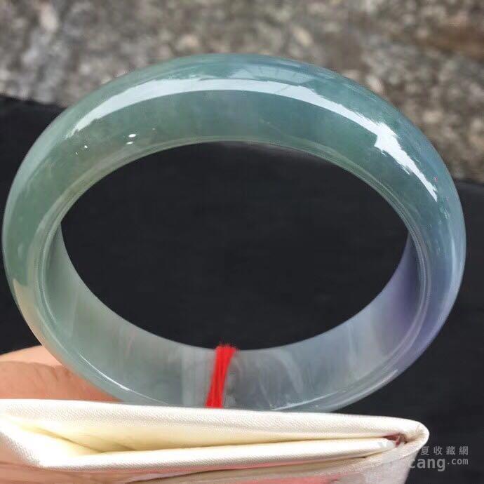 冰糯种紫罗兰带蓝绿宽版翡翠手镯尺寸55 16 7.5。