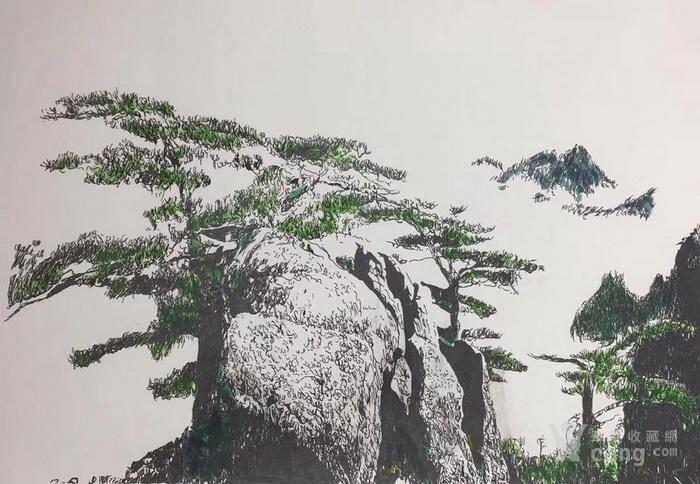 松树林钢笔手绘