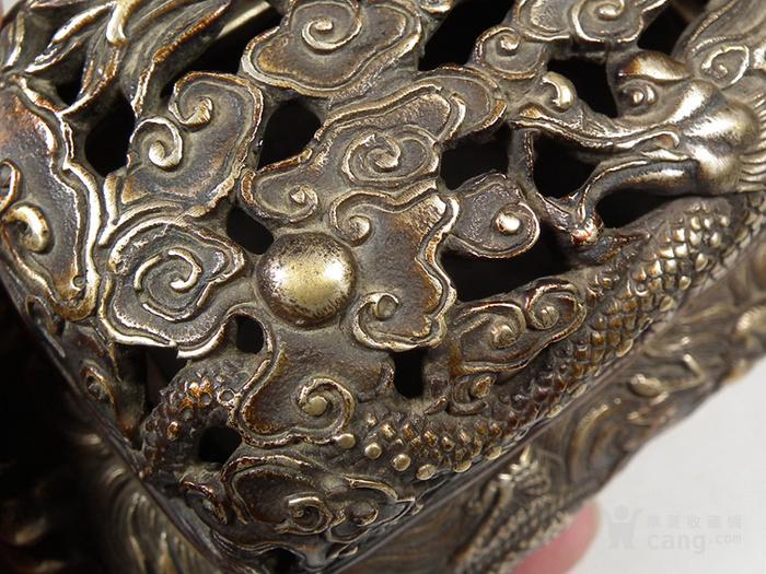 老黄铜镂空双龙戏珠盖配满工祥云腾龙纹灵芝耳大香薰炉图6