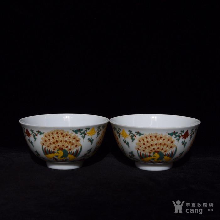 明成化五彩描金孔雀纹杯一套 5x9.3