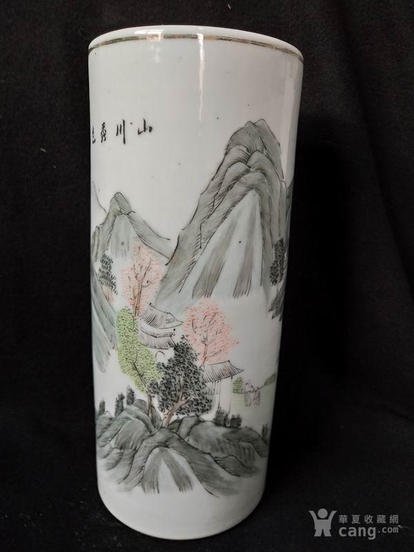 民国粉彩山水帽筒
