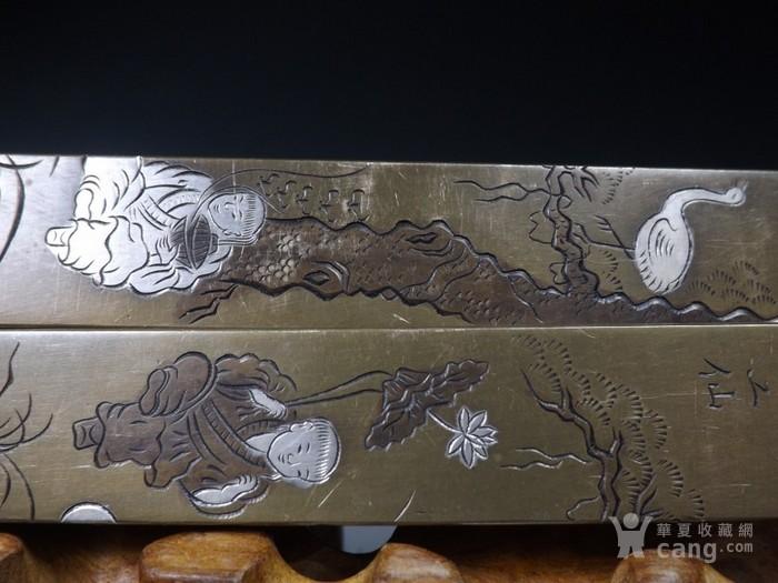 老黄铜白铜和合二仙松鹤纹文房镇纸一对