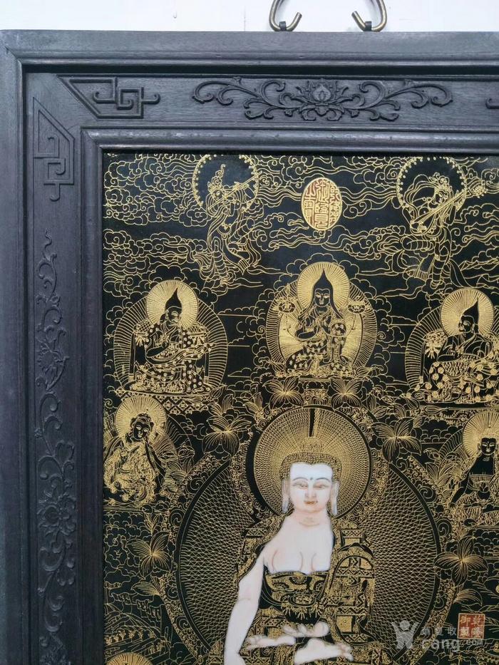 《丁罐鹏》作品红木镶瓷板画掐丝唐卡